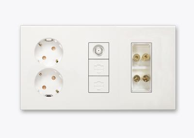 통합형 배선기구 B타입 (콘센트 2구+CATV 1구+RJ45 2구+오디오 서라운드잭 2구)