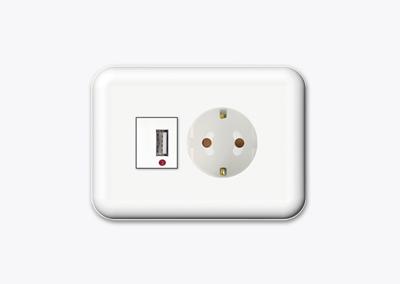 USB 1구+1구 콘센트(가로형)